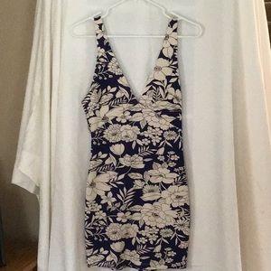 Lush Dresses - Navy flower tight dress